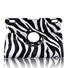 Generic 360 Degree Rotating Swivel Stand New Fashion Ultra Slim Slim-Fit Lightweight Zebra Print Pattern Design PU Leather Smart Case Cover with Auto Sleep / Wake Feature Corner Protection & Multi-Angle Viewing for Kindle Fire HDX 7 Tablet 7 HDX Display, Wi-Fi, Optional 4G LTE Wireless, 16GB, 32GB, or 64GB 2013 Release - Black + Free Gift ONE Stylus Pen