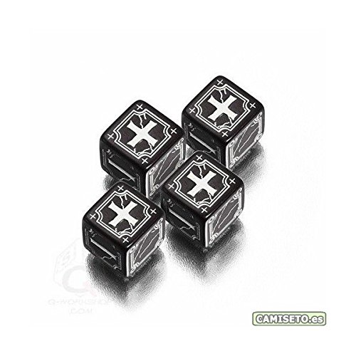 Q-Workshop: Set of 4 - Carved Ancient Fudge d6 Black & White Fudge Dice - 1