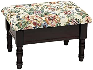 Frenchi Home Furnishing Queen Anne Style Footstool with Storage in Cherry Finish