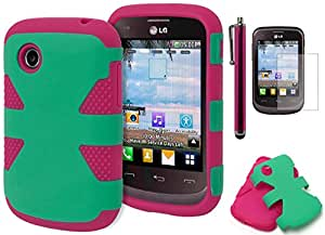 LG 306G Case, Bastex Heavy Duty Hybrid Dual Layer Soft Pink Silicone Cover Hard Teal Dynamic Case for LG 306G**INCLUDES SCREEN PROTECTOR AND STYLUS**