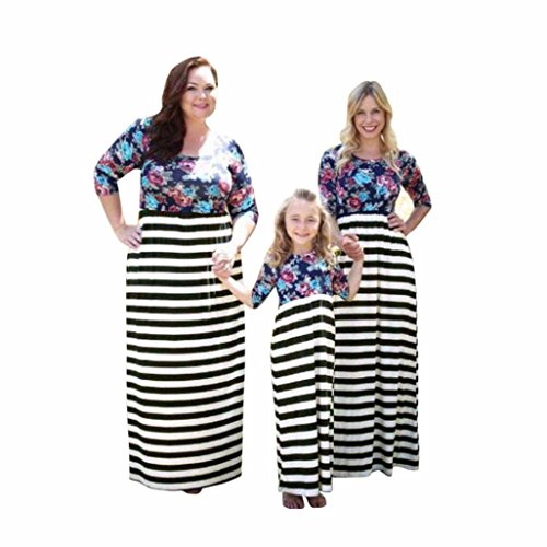 family-dressmuxika-daughtermother-three-quarter-sleeve-stripe-printing-dress-s-mother