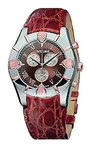 Roberto Cavalli Men's Diamond Chronograph Watch R7251616055 with Quartz Movement, Leather Bracelet and Brown Dial