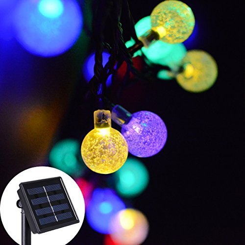 Solar String Lights, EveShine 19.7 ft 30 LED Outdoor Solar Powered Crystal Ball Globe String ...