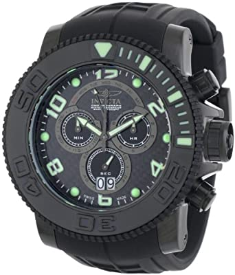 Invicta Men's 0414 Pro Diver Collection Sea Hunter Chronograph Black Polyurethane Watch