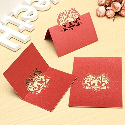 BABAN 10x Carte nom Laser Marque Place Verre Coupe Oiseau d'amour décoration Pour Mariage Anniversaire Fête Soirée rouge