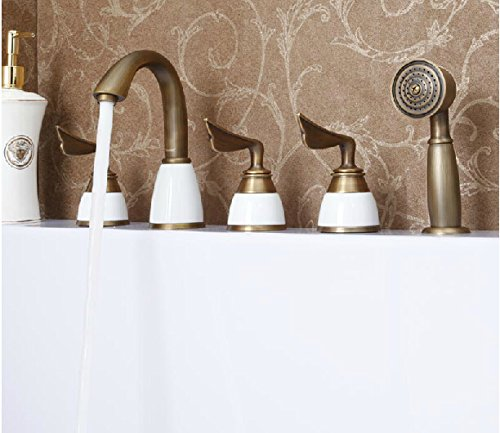 Rozin Bathroom Tub Faucet Antique Brass Mixer Tap With Hand Shower front-471980