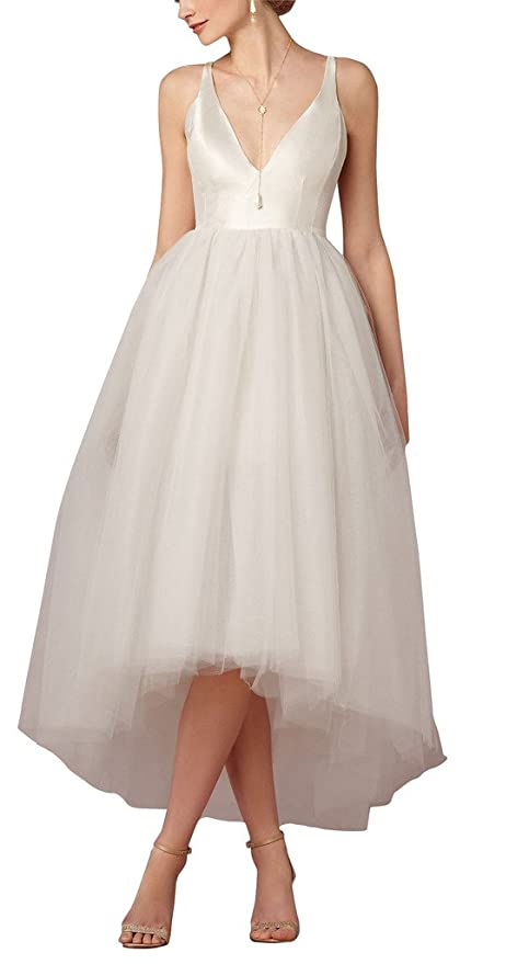 Xicheng Women's Hi-Low Empire V Neck Tulle Wedding Dresses Bridal Gowns Size 6 US Ivory