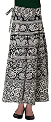 Fashiana Women's Black & White Long Wrap Around Skirt