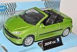 Peugeot 206CC Grün Metallic Cabrio Offen 2003-2007 ca 1/43 1/36-1/46 Welly Modell Auto mit individiuellem Wunschkennzeichen