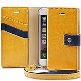 iPhone7 ケース, TORU [Snap Strap][黄] アイフォン7用 手帳型 [スリム][カードホルダー][メタルボタン][スタンド][プレミアム合皮レザー] ストラップ付きフリップカバ― (イエロー)