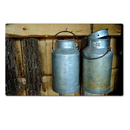 MSD Natural Rubber Large Table Mat 28.4 x 17.7 x 0.2 inches old vintage milk churn and chains IMAGE 30506180 (Milk Cans Antique compare prices)