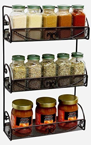 Generic NV_1008003222_YC-US2 anger Mo Rack Bronze pice NEW! 3 Tier Wall ack B Shelf Organizer Shel Mounted Spice Jar anize Storage Hanger NEW! 3 (Pice Rack compare prices)