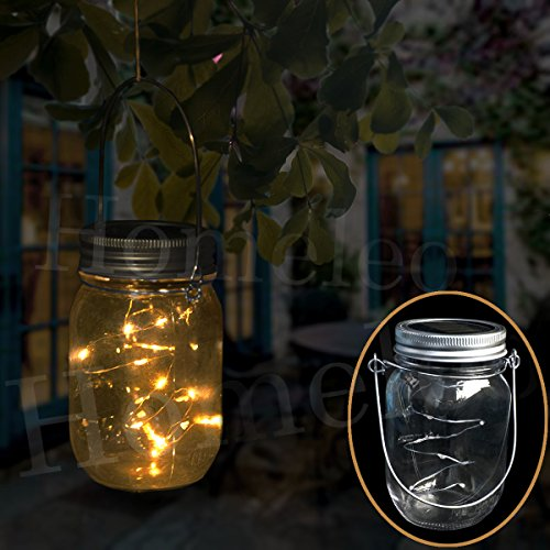 Homeleo Solar Mason Jar Lights, Warm White LED Fairy String Light Lid Insert, LED Jar Lantern for Garden Patio Porch(Mason Jar & Handle Included)