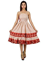 Gorgeous Polyester Floral Dress Red Printed Medium For Girl's By Rajrang
