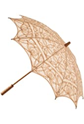 The 1 for U Lined Battenburg Lace Parasol Ecru (Light Beige)