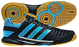 Adidas Adipower Stabil 10.1 Men's Indoor Court Shoe (11, Black/Tech Grey Metallic/Solar Blue)