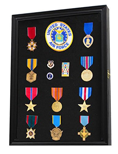 Military Medals, Pins, Patches, Insignia, Ribbons Display Case Wall Frame Cabinet PC01-BLA (Black Pin Display Case compare prices)