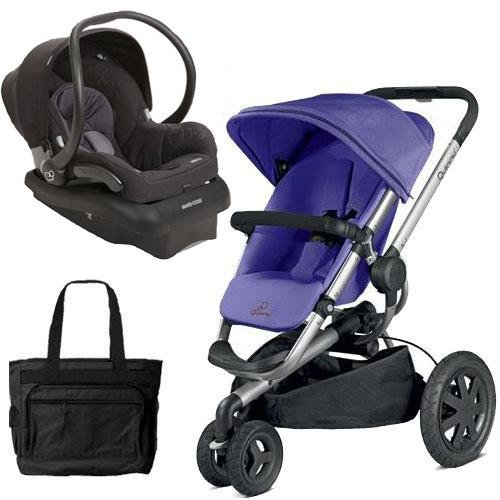Quinny Buzz Xtra Pushchair In Purple Pace With Maxi Cosi: Quinny Buzz Xtra Travel System In Purple Black With Diaper
