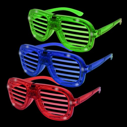 12Ct Led Shade Novelty Light Up Party Fun Glasses - Rock Hip Hop Sunglasses Rock Star / Hip Hop / Party Fun Costume Glasses- Assorted Flashing Lights