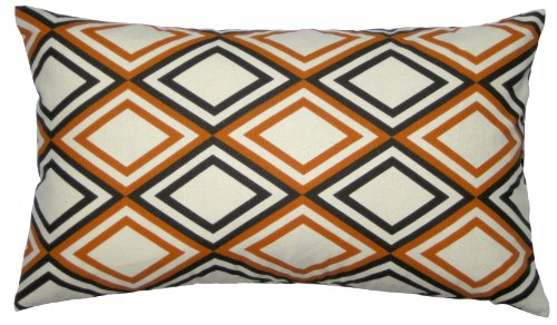 Jinstyles Cotton Canvas Diamond Accent Decorative Throw Lumbar Pillow Cover (Brown, Orange & Beige, 1 Cover For 12 X 20 Inserts)