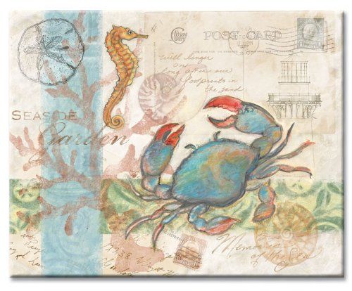 CounterArt Seaside/Blue Crab Glass Cutting Board, 14-7/8 by 11-3/4 Inches