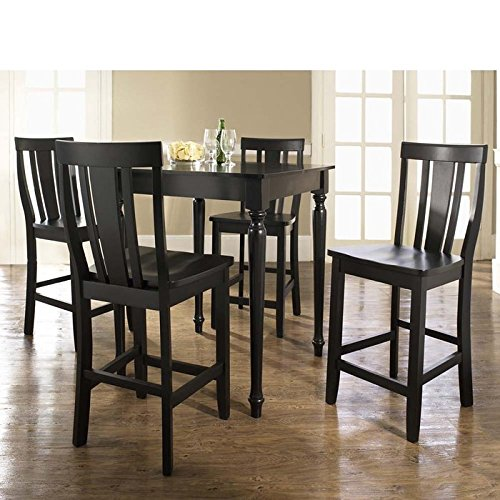 5 Pc Pub Dining Set w Turned Leg and Shield Back Stools in Black