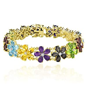 Yellow Gold Plated Sterling Silver Multi-Gemstone Flower Bracelet, 7.25