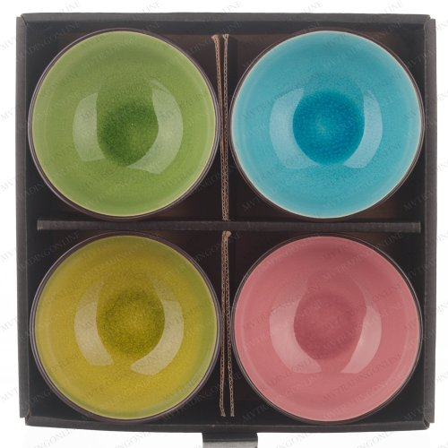 "M.V. Trading Co. Set Of 4 Japanese 4-1/2"" Soup Rice Bowl With Crakle Design (Color: Lime, Green, Blue, Pink)"