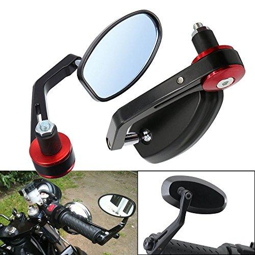 "Frenshion 7/8"" 22mm Motorcycle Handlebar Bar End Mirror Side Rear View Mirrors Red Grips for Yamaha Honda Triumph Ducati Motif Black"