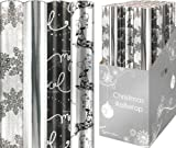 4 x Christmas Wrapping Paper Rolls - Reindeer / White / Silver / Black / Snow Flakes