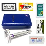 Weishi 9306-E Double Edge Safety Razor in Matt Silver Finish with 25 Mixed Double Edge - Merkur, Wilkinson Sword, Astra, Derby & Gillette 7 O Clock