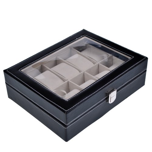 New PU Leather 10 Grid Watch Display Case Box Jewelry Storage Organizer