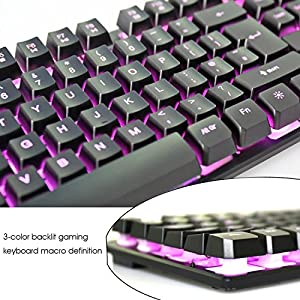 Rii RK100 3 Color LED Backlit (Red/Purple/Blue) Mechanical Feeling USB Wired Gaming Keyboard Black UK Layout