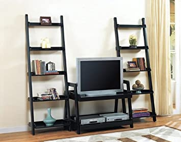 Black Wood Finish Entertainment Center TV Stand Book Shelves
