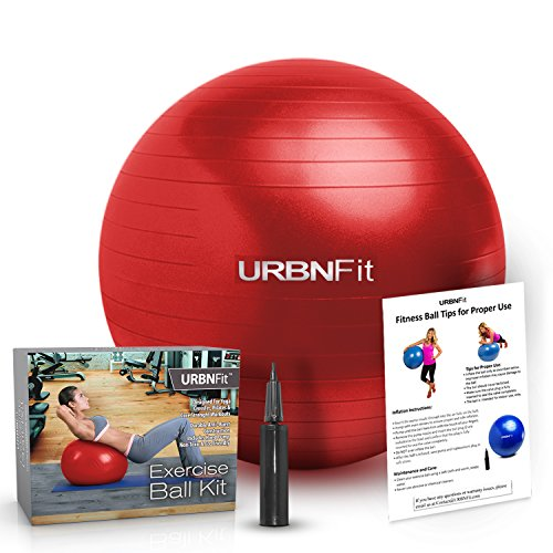 Exercise Ball (Multiple Sizes) for Fitness, Stability, Balance & Yoga - Workout Guide & Quick Pump Included - Anit Burst Professional Quality Design (Red, 55CM)