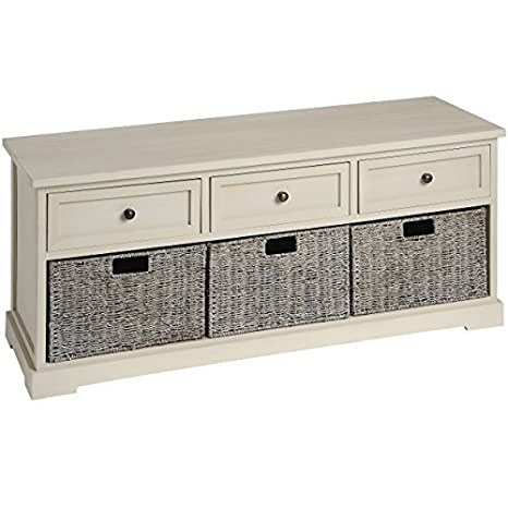 Hill Interiors Carbis 3-Drawer and 3 Basket Seagrass Cabinet, Brown/Antique Cream