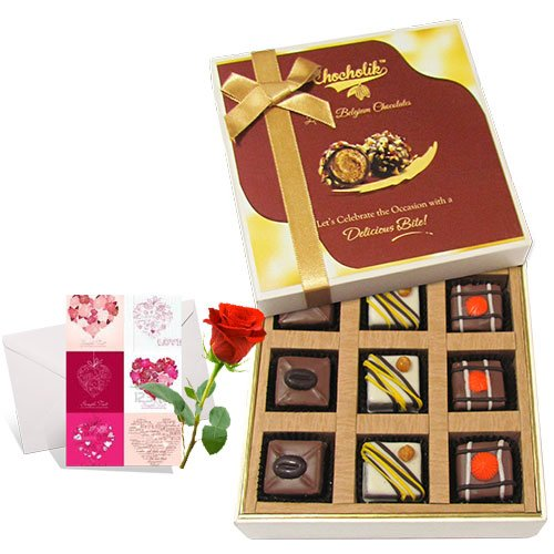 Memorable Pralines Chocolates With Love Card And Rose - Chocholik Luxury Chocolates