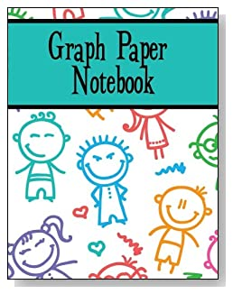 Graph Paper Notebook For Boys - Silly stick kids make a playful cover for this graph paper notebook for younger boys.
