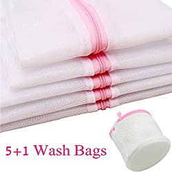 GYBest Set of 6 Mesh Washing Bags - 2x Extra Large, 1x Large, 1x Medium, 1x Small, 1x Bra Wash Bag - Laundry Wash Bag for Blouse Hosiery Stocking Underwear Bra and Lingerie, Travel Laundry Bag