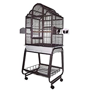 Victorian Bird Cage with Plastic Base Color: Black