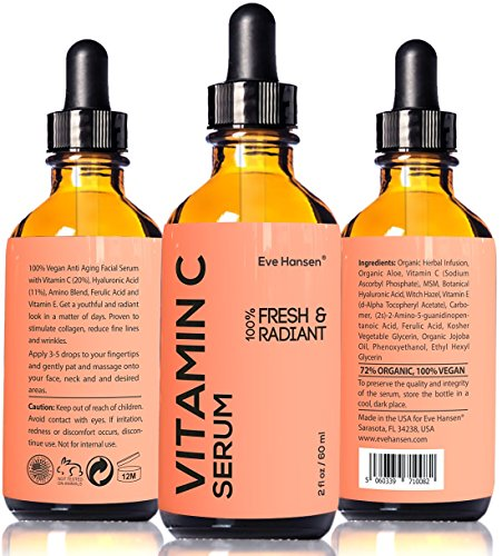 2 oz Vitamin C Serum - Facelift in a Bottle #1 - 100% Vegan Anti Aging Facial Serum - SEE RESULTS OR MONEY-BACK - Big 2 ounce (Twice the Size) with the Same Premium Ingredients.
