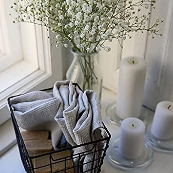 serviettes texture gaufr e gaufr e linenme 30x30 cm set de 4 argent cuisine maison. Black Bedroom Furniture Sets. Home Design Ideas