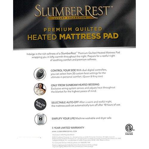 sunbeam premium luxury quilted heated electric mattress pad queen size - Heated Mattress Pad Queen