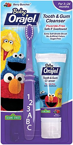 Orajel Baby Elmo Tooth and Gum Cleanser With Toothbrush, Berry, Berry Fun, 1.0 Oz