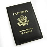 Leather RFID Blocking Passport Case Cover Holder Travel Card Foil Stamped Black