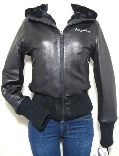 Baby Phat Reversible Leather Jacket Coat, Black, 2XLarge