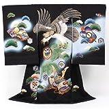 男物お宮参り着物「黒地グラデーションに大鷲と兜」お宮参り・産着・祝着