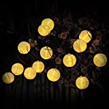 Innoo Tech Solar String Lights Outdoor 15.7ft 20 LED Warm White Fabric Lantern Ball Christmas Globle Lights for Garden Path Party