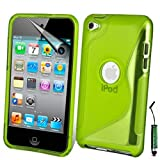AOA CasesTM Apple Ipod Touch 4 4g 4th Generation S-Line Series Wave Hydro Gel Silicone Case Cover Skin Includes Screen Protector And Mini Stylus (iPod Touch 4 4th 4G, Green)