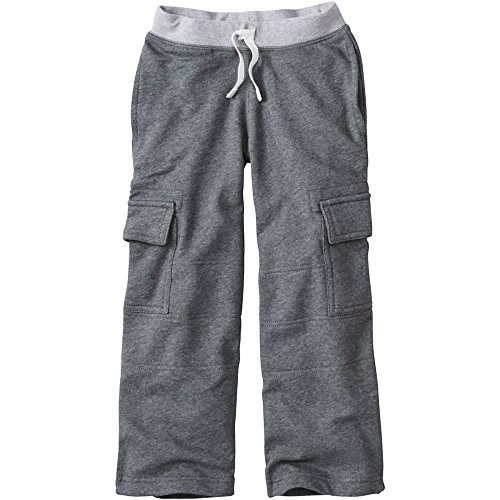 Hanna Andersson Little Boy Very Güd Double Knee Cargo Sweats, Size 90 (3T), Dark Heather Grey